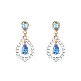 Pear Blue Topaz 14K Rose Gold Earrings with Aquamarine