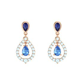 Pear Blue Topaz 14K Rose Gold Earrings with Sapphire & Aquamarine