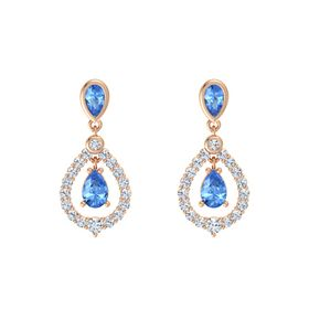 Pear Blue Topaz 14K Rose Gold Earrings with Blue Topaz & Diamond