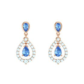 Pear Blue Topaz 14K Rose Gold Earring with Blue Topaz and Aquamarine