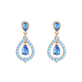 Pear Blue Topaz 14K Rose Gold Earrings with Blue Topaz