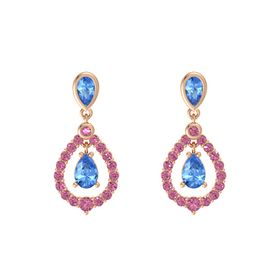 Pear Blue Topaz 14K Rose Gold Earrings with Blue Topaz & Pink Tourmaline