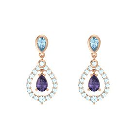 Pear Iolite 14K Rose Gold Earrings with Aquamarine