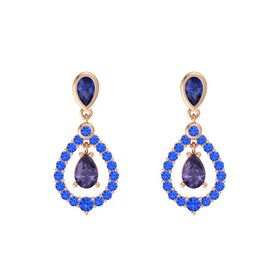 Pear Iolite 14K Rose Gold Earrings with Sapphire