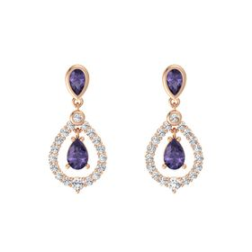 Pear Iolite 14K Rose Gold Earring with Iolite and White Sapphire