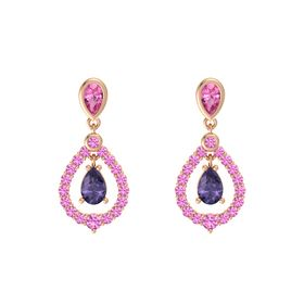 Pear Iolite 14K Rose Gold Earrings with Pink Tourmaline & Pink Sapphire
