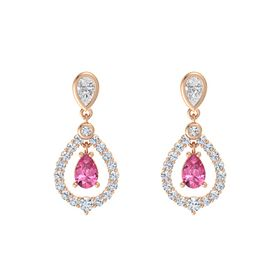 Pear Pink Tourmaline 14K Rose Gold Earrings with White Sapphire & Diamond
