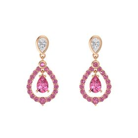 Pear Pink Tourmaline 14K Rose Gold Earring with White Sapphire and Pink Tourmaline