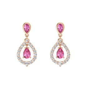 Pear Pink Tourmaline 14K Rose Gold Earrings with Pink Sapphire & White Sapphire