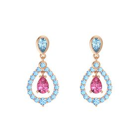 Pear Pink Tourmaline 14K Rose Gold Earrings with Aquamarine & Blue Topaz