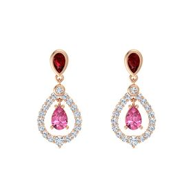 Pear Pink Tourmaline 14K Rose Gold Earring with Ruby and Diamond