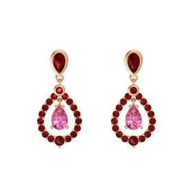 Pear Pink Tourmaline 14K Rose Gold Earring with Ruby