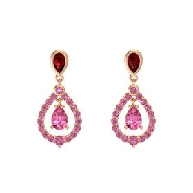 Pear Pink Tourmaline 14K Rose Gold Earring with Ruby and Pink Tourmaline
