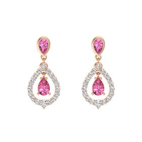 Pear Pink Tourmaline 14K Rose Gold Earring with Pink Tourmaline and Diamond