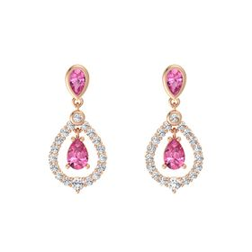 Pear Pink Tourmaline 14K Rose Gold Earring with Pink Tourmaline and White Sapphire