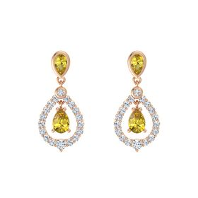 Pear Yellow Sapphire 14K Rose Gold Earrings with Yellow Sapphire & Diamond