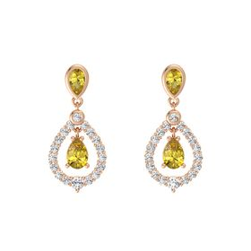 Pear Yellow Sapphire 14K Rose Gold Earrings with Yellow Sapphire & White Sapphire