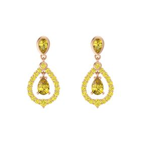 Pear Yellow Sapphire 14K Rose Gold Earring with Yellow Sapphire