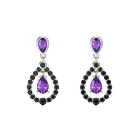 Pear Amethyst 14K White Gold Earring with Amethyst and Black Diamond