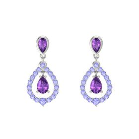 Pear Amethyst 14K White Gold Earrings with Amethyst & Tanzanite