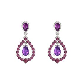 Pear Amethyst 14K White Gold Earring with Rhodolite Garnet