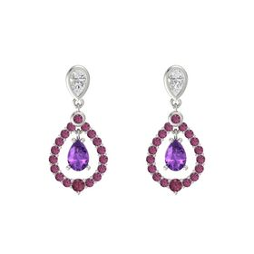 Pear Amethyst 14K White Gold Earring with White Sapphire and Rhodolite Garnet