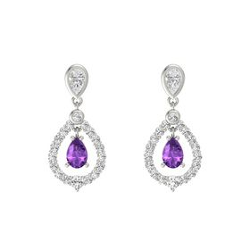 Pear Amethyst 14K White Gold Earrings with White Sapphire