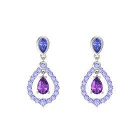 Pear Amethyst 14K White Gold Earring with Tanzanite