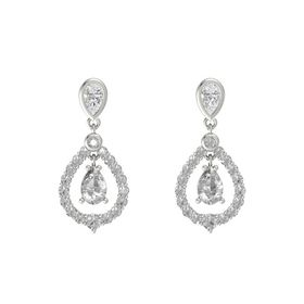 Pear Rock Crystal 14K White Gold Earrings with White Sapphire & Rock Crystal