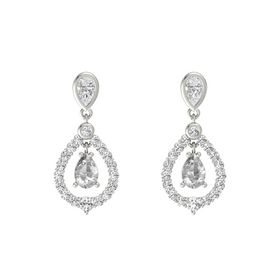 Pear Rock Crystal 14K White Gold Earrings with White Sapphire
