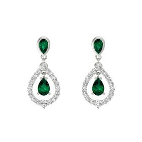Pear Emerald 14K White Gold Earrings with Emerald & White Sapphire