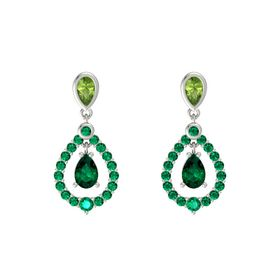 Pear Emerald 14K White Gold Earrings with Peridot & Emerald