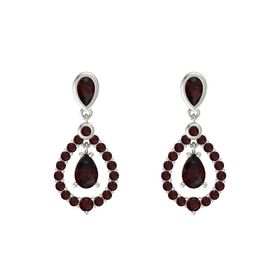 Pear Red Garnet 14K White Gold Earrings with Red Garnet