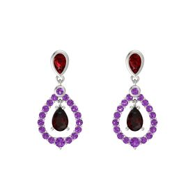 Pear Red Garnet 14K White Gold Earring with Ruby and Amethyst
