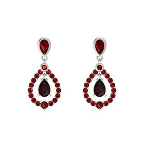 Pear Red Garnet 14K White Gold Earrings with Ruby