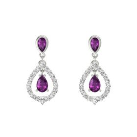 Pear Rhodolite Garnet 14K White Gold Earring with Rhodolite Garnet and White Sapphire