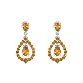 Pear Citrine 14K White Gold Earring with Citrine