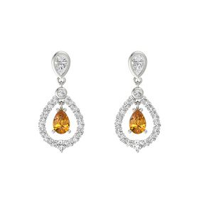 Pear Citrine 14K White Gold Earrings with White Sapphire