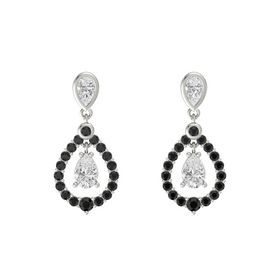 Pear White Sapphire 14K White Gold Earring with White Sapphire and Black Diamond