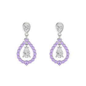 Pear White Sapphire 14K White Gold Earring with White Sapphire and Iolite