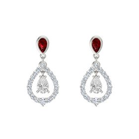 Pear White Sapphire 14K White Gold Earrings with Ruby & Diamond