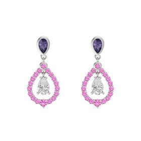 Pear White Sapphire 14K White Gold Earring with Iolite and Pink Sapphire