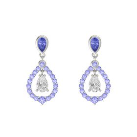 Pear White Sapphire 14K White Gold Earring with Tanzanite