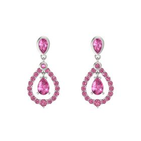 Pear Pink Sapphire 14K White Gold Earring with Pink Sapphire and Pink Tourmaline