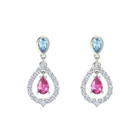 Pear Pink Sapphire 14K White Gold Earring with Aquamarine and Diamond