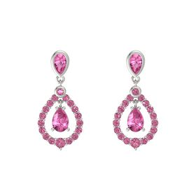 Pear Pink Sapphire 14K White Gold Earring with Pink Tourmaline