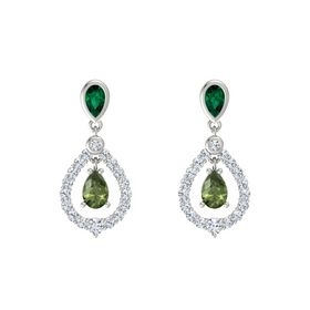 Pear Green Tourmaline 14K White Gold Earring with Emerald and Diamond
