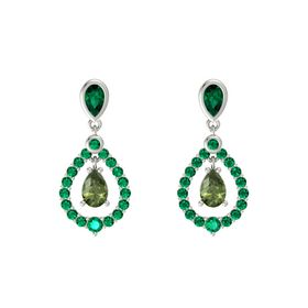 Pear Green Tourmaline 14K White Gold Earrings with Emerald