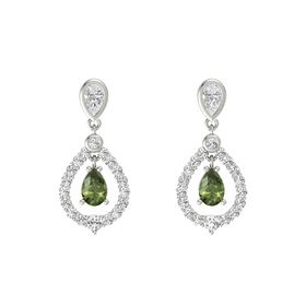 Pear Green Tourmaline 14K White Gold Earrings with White Sapphire