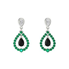 Pear Black Onyx 14K White Gold Earring with White Sapphire and Emerald